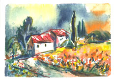 Aquarell Toskana Impression