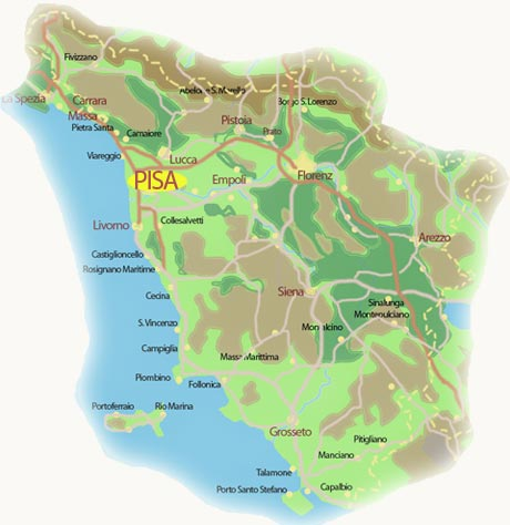 Pisa Karte.Pisa Touristen Und Industriemagnet Am Ufer Des Arno In Der Toskana